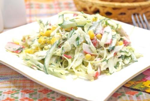 салат пекинская капуста крабовые палочки кукуруза огурец