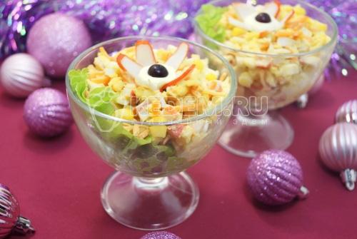 Крабовый салат с корейской морковью Гирлянда