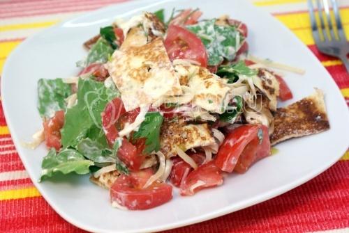 Летний салат с блинчиками
