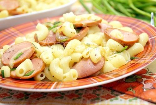 Макароны с сосисками - рецепт