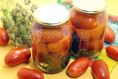 Маринованные помидоры в литровых банках на зиму