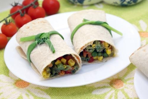 Овощи в лаваше - рецепт