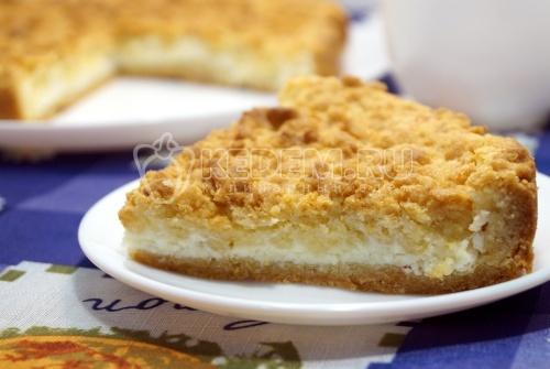 Песочный пирог с творогом - рецепт