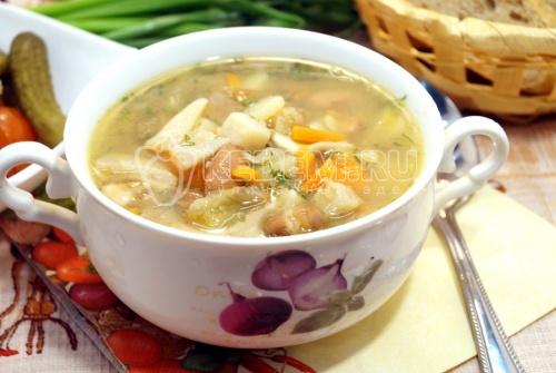Постный суп с фасолью и грибами - рецепт