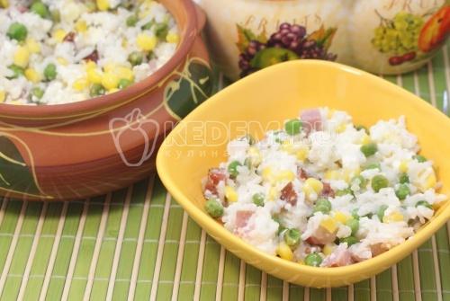 Рис с овощами и сыром Фета