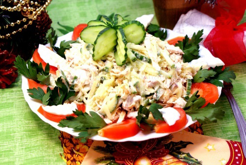 Салат с блинчиками Новогодняя мелодия