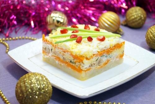 Салат с горбушей «Новогодний эскиз» - рецепт