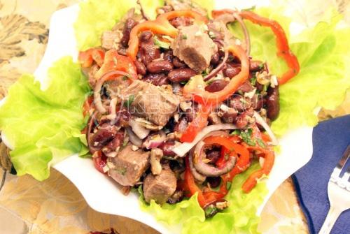 Салат с мясом острый рецепт с