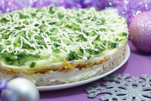 Слоеный салат Лесная загадка
