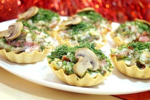 Тарталетки с грибами Праздничные