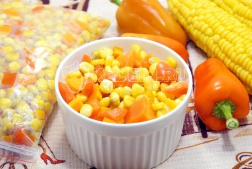 Заморозка овощей на зиму для гарнира с кукурузой