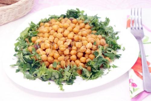 Жареный нут с зеленью - рецепт