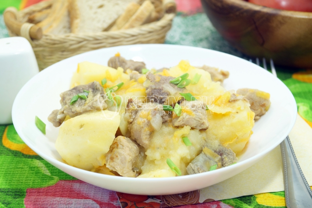 рецепт мясо картофель в мультиварке