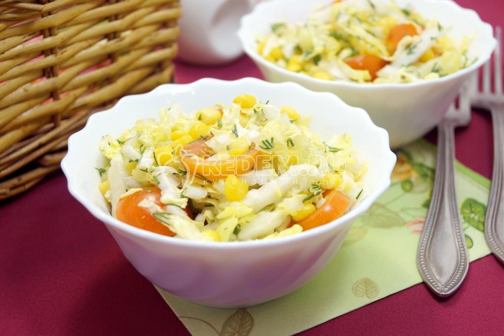 Салат с китайской капустой постный рецепт