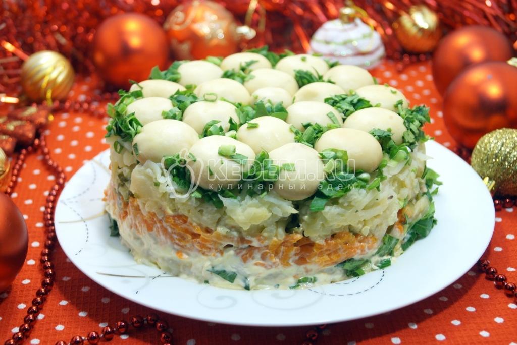 салат лесная поляна с шампиньонами фото