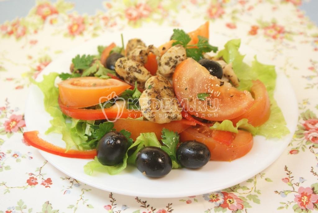 Салат курица оливки помидоры салат