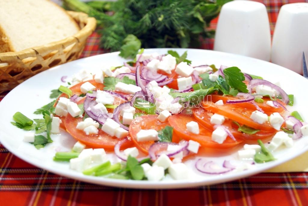 рецепты салатов с брынзой и помидорами