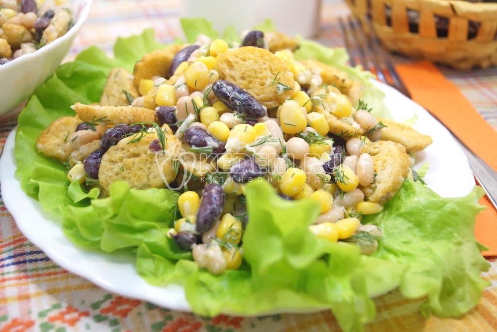 Салат с фасолью простой и быстрый рецепт
