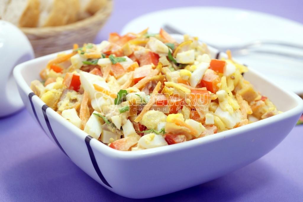 Куриный салат с корейской морковью пошаговый рецепт 9