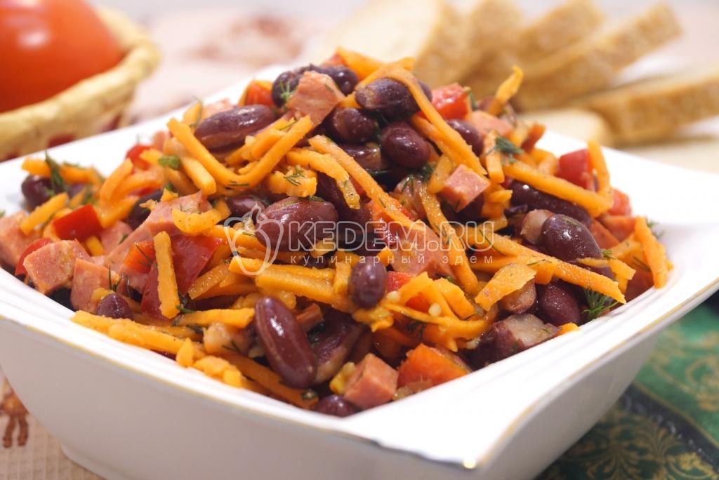 рецепт салата с корейской морковью и фасолью и курицей