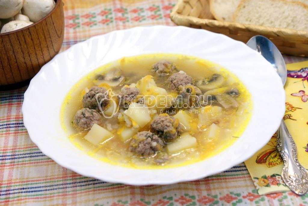 как приготовить грибной суп из шампиньонов фрикадельками в мультиварке