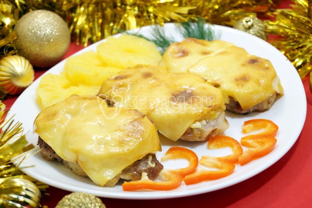 Отбивные из свинины в духовке с сыром и ананасами рецепт пошагово