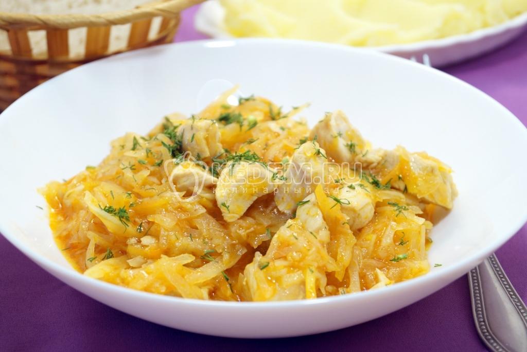 как готовить тушёную капусту с курицей