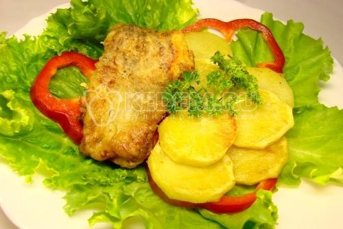 Рецепт Щука с жареным картофелем, болгарским перцем