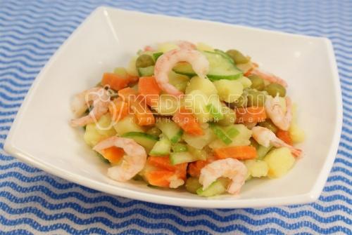 Салат с креветками – ФОТО РЕЦЕПТ – приготовление вкусного салатика с креветками, свежими огурцами, горошком, картофелем. Просто в приготовлении и оригинальный салат. – Салаты на сайте Кулинарный Эдем.