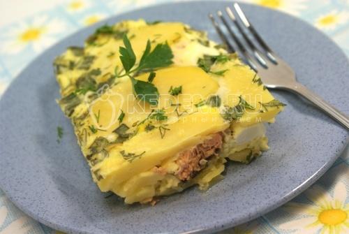 Рецепт Горбуша запеченная с яйцами и картофелем