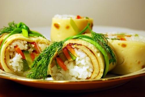Блинные роллы. Кулинарный рецепт приготовления блинных роллов. Оригинальное простое в приготовлении блюдо.