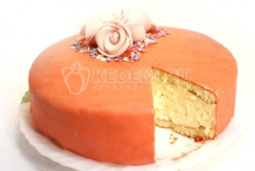 Торт  «Для Любимой». Кулинарный фото рецепт приготовление бисквитного торта со сливочной начинкой.
