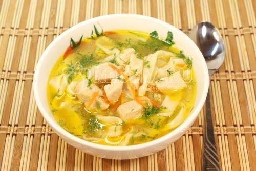 Суп с лапшой «По-домашнему». Кулинарный рецепт приготовления куриного супа с домашней лапшой.