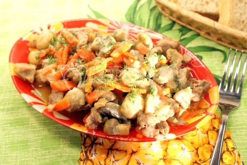 Рецепт Мясо тушеное с грибами