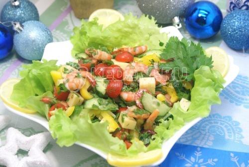 Овощной салат с креветками. Пошаговый кулинарный рецепт с фото приготовление овощного салата с креветками на новый год.