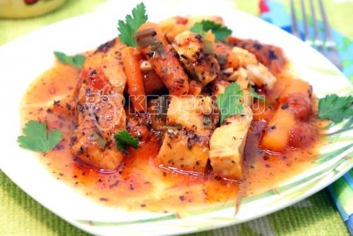 Рецепт Треска томлёная в томатном соусе