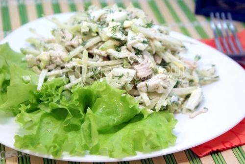 Салат «Ташкент». Пошаговый кулинарный рецепт с фотографиями приготовление салата с курицей и зеленой редькой.