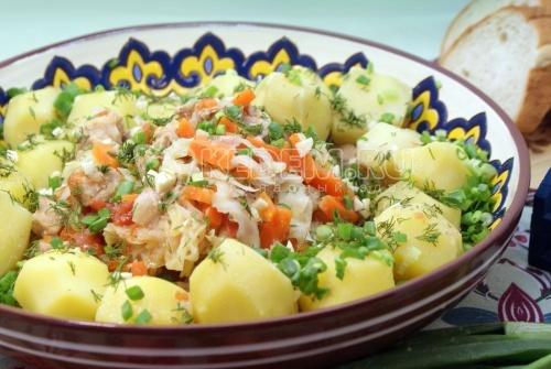 Рецепт Мясо тушеное с овощами и зеленью