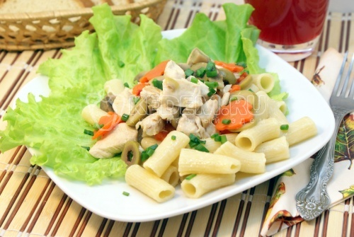 Рецепт Курица с грибами и макаронами