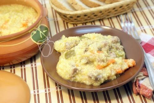 Рецепт Кукурузная каша с мясом по-деревенски