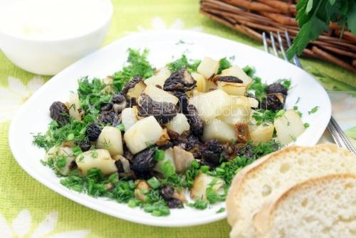 Рецепт Сморчки жареные с картофелем
