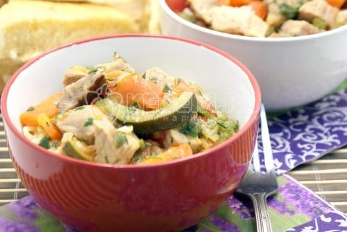Рецепт Мясо с овощами и лапшой