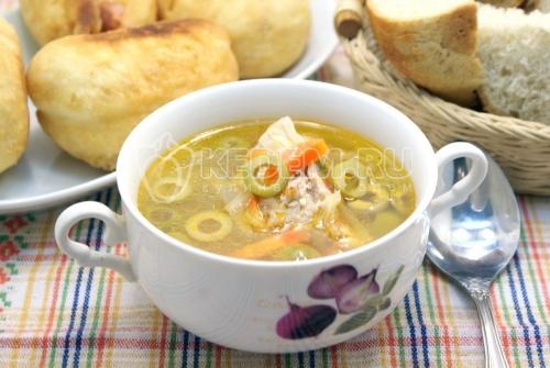 рецепт гречневого супа с мясом с фото #11