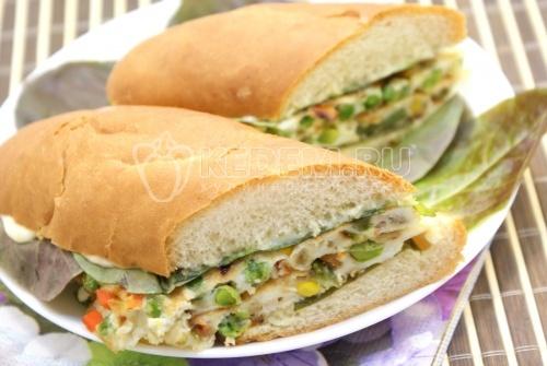 Рецепт Бутерброд с овощами и омлетом