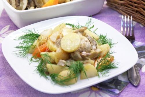 Тушеная курица с картофелем и грибами - рецепт