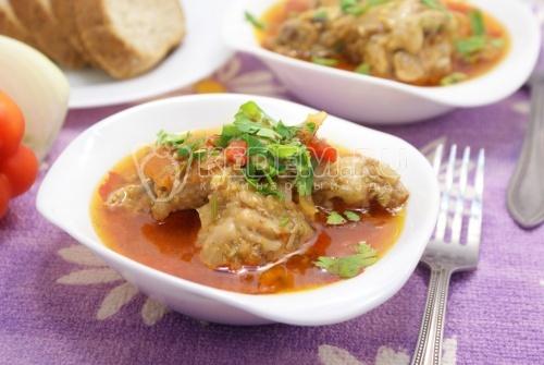 Рецепт Тушеная курица с овощами