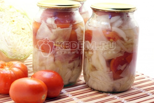 Рецепт Помидоры на зиму с капустой и луком