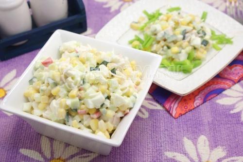 Рецепт Салат с крабовыми палочками и огурцом