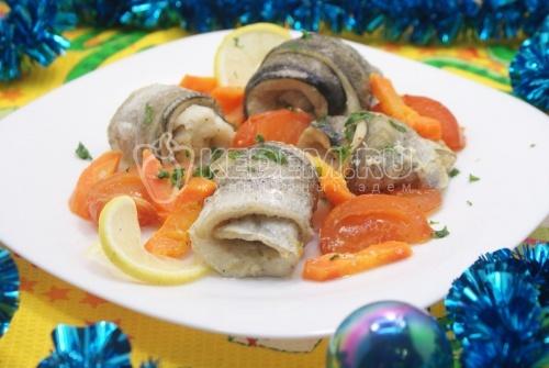 Рецепт Рулетики из рыбы запеченные с овощами