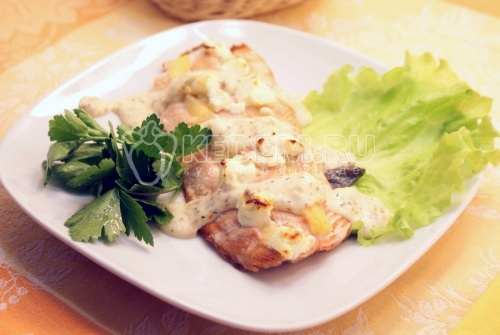 Рецепт Горбуша с ананасом и сыром фета